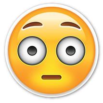 Emoji Flushed Face shaped vinyl sticker 100mm or 150mm app iPhone iPad - $3.00+