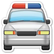 Emoji Police Car shaped vinyl sticker 100mm or 150mm app iPhone - $3.00+