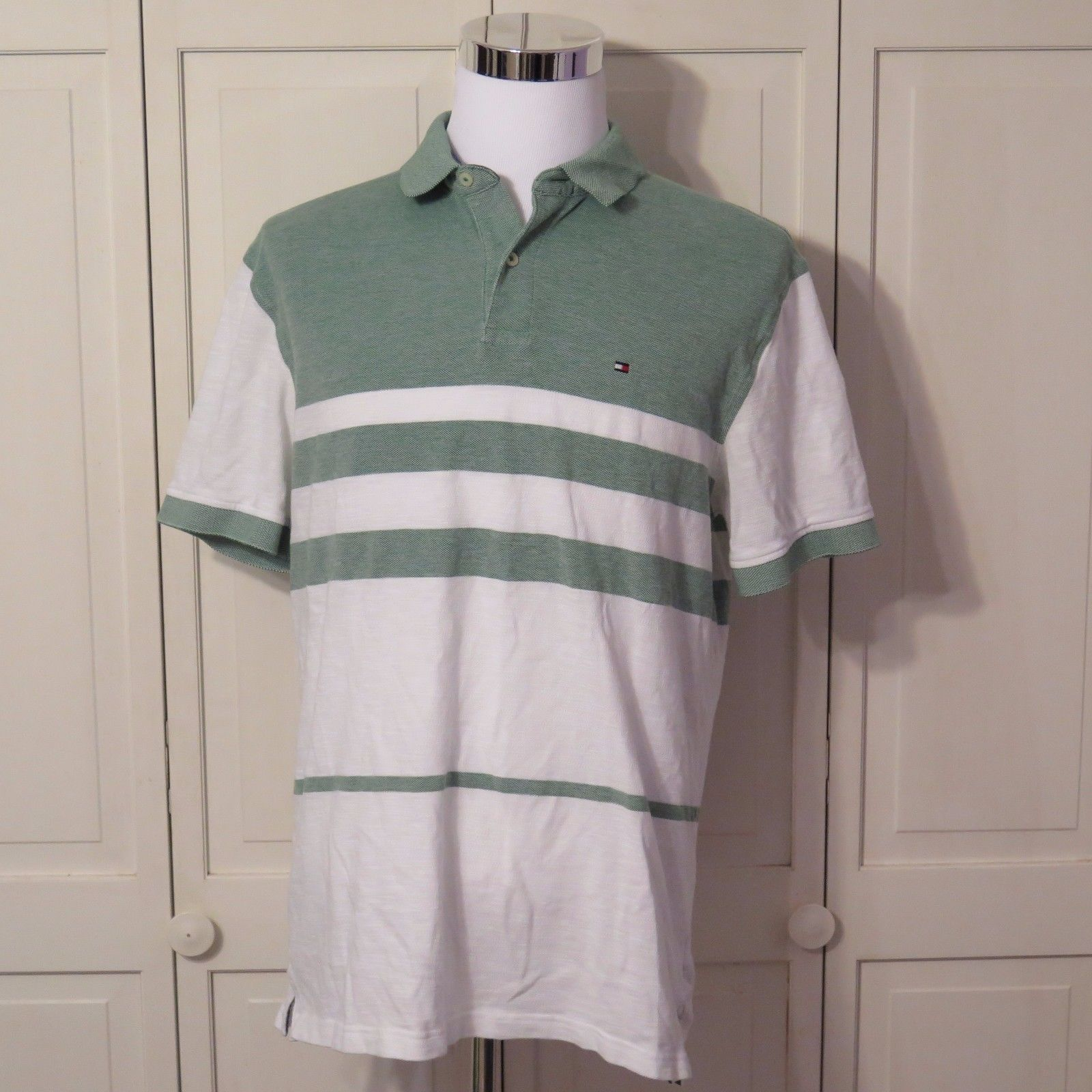 3f222e4ae765 S l1600. S l1600. Previous. TOMMY HILFIGER Mens Short Sleeve Polo Rugby Golf  Shirt White Green ...