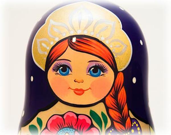 "Volga Maiden Nesting Doll - 10"" w/ 10 Pieces"