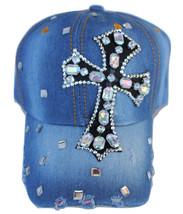 Faith Inspirational Cross Clear Rhinestone Cap Hat Stud Distressed 100% ... - $18.00