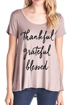 Womens Ladies Thankful Grateful Blessed Flowy Rayon Stretch A Line Loose T-Shirt - $29.00+