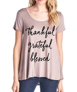 Womens Ladies Thankful Grateful Blessed Flowy Rayon Stretch A Line Loose... - $29.00+