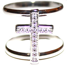 Wide Power of God Open Band Cz Clear Cubic Zirconia Cross Silver Tone Br... - $27.99