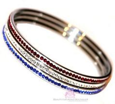 American Flag Cubic Zirconia Patriotic Blue Red White Cz 3 Bangle Bracel... - $67.50