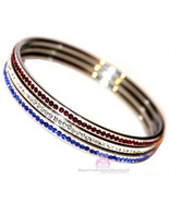 American Flag Cubic Zirconia Patriotic Blue Red White Cz 3 Bangle Bracel... - $75.00