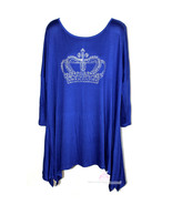 Royal Blue Plus Size Royalty Queen Princess Handkerchief Long Back Sleev... - $45.00