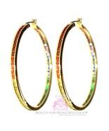"Women Gods Promise 2"" Hoop Rainbow Cubic Zirconia Glam Earrings Gala Gol... - $125.00"