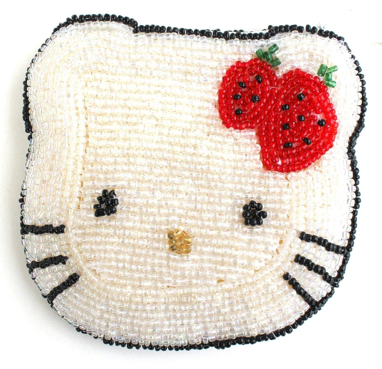 Hello Kitty White Aurora Ab Seed Bead Coin Purse Strawberry Bow Small Zippered - $17.48