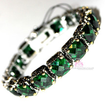 Beauty for Ashes Checkerboard Cut Emerald Green Throne Room Tennis CZ Br... - $445.50