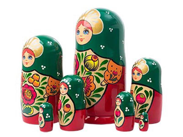 "Volga Maiden Nesting Doll - 8"" w/ 7 Pieces"