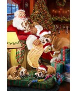 Happy Holidays with Santa Sleeping with Bulldog Dogs Christmas Garden Flag - $34.64