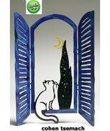 David Gerstein Art Window & Cat Metal Modern Sculpture - $99.10