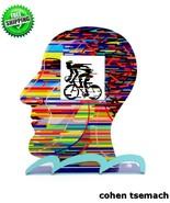 David Gerstein Head Cyclist Contemporary Bike Rider Metal Art Unique Art... - $115.93