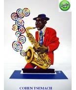 David Gerstein Metal Art - Saxophone Player Jazz Club - Metal Modern Scu... - $167.35