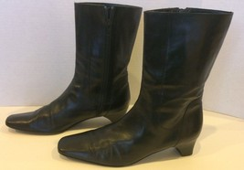 EUC COLE HAAN ITALY Black Soft Leather Ankle Mid Calf Boots 8.5 Sleek & ... - $35.79