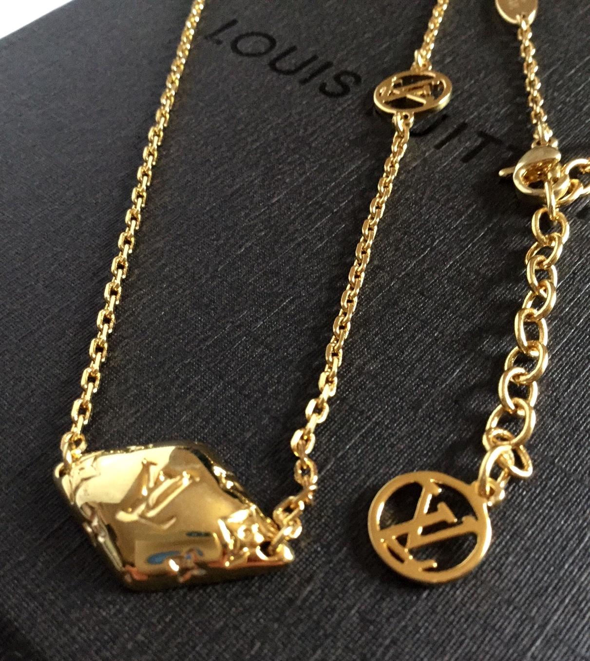 LOUIS VUITTON Malletage Necklace Pendant Gold Palladium ...