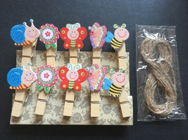 10pcs Butterfly Wooden Clips,Paper Clips,Special Gift,Party Decoration F... - $3.20