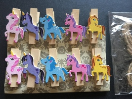 10pcs Flying Horse Wooden Clips Paper Wooden Pegs Birthday Party Decoration - $3.20