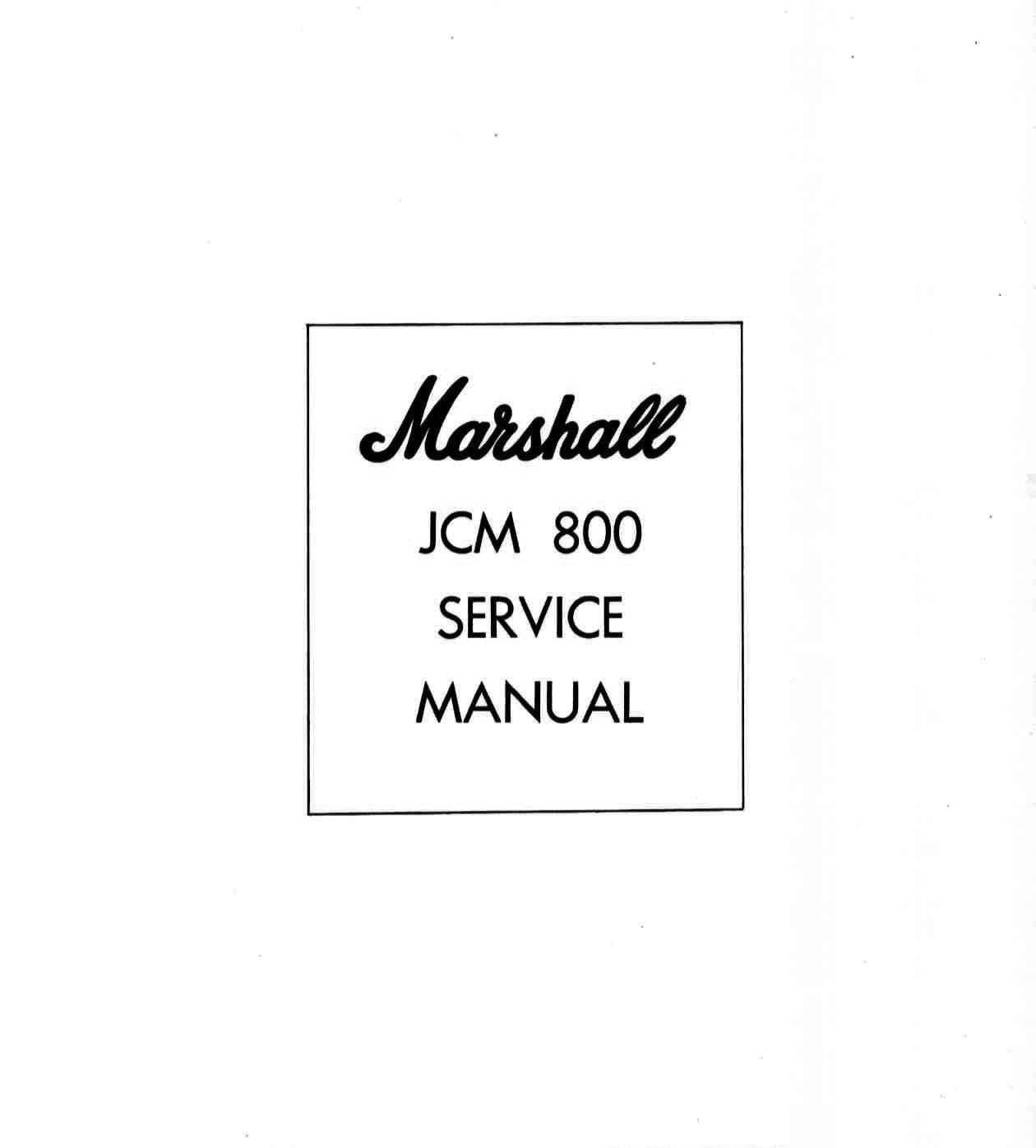 Marshall JCM 800 Amplifier Service Manual and 50 similar items on