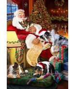 Happy Holidays with Santa Sleeping with Sheltie Dogs Christmas Garden Flag - $34.64