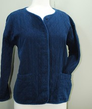 Eileen Fisher Denim Blue Quilted Snap Front Jacket Cardigan Women's Smal... - $69.20