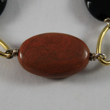.925 RHODIUM SILVER YELLOW GOLD PLATED BRACELET WITH BROWN JASPER AND BLACK ONYX image 2
