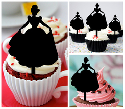 Ca437 Decorations cupcake toppers cinderella dancing silhouette Package : 10 pcs - $10.00