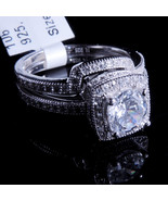 Ladies 14K White Gold Fn Lab Diamond Round Cut Solitaire Bridal Ring Two... - $64.99