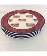 We Pledge Allegiance Set of 4 American Flag Stoneware Dinner Plates (4) - $48.51