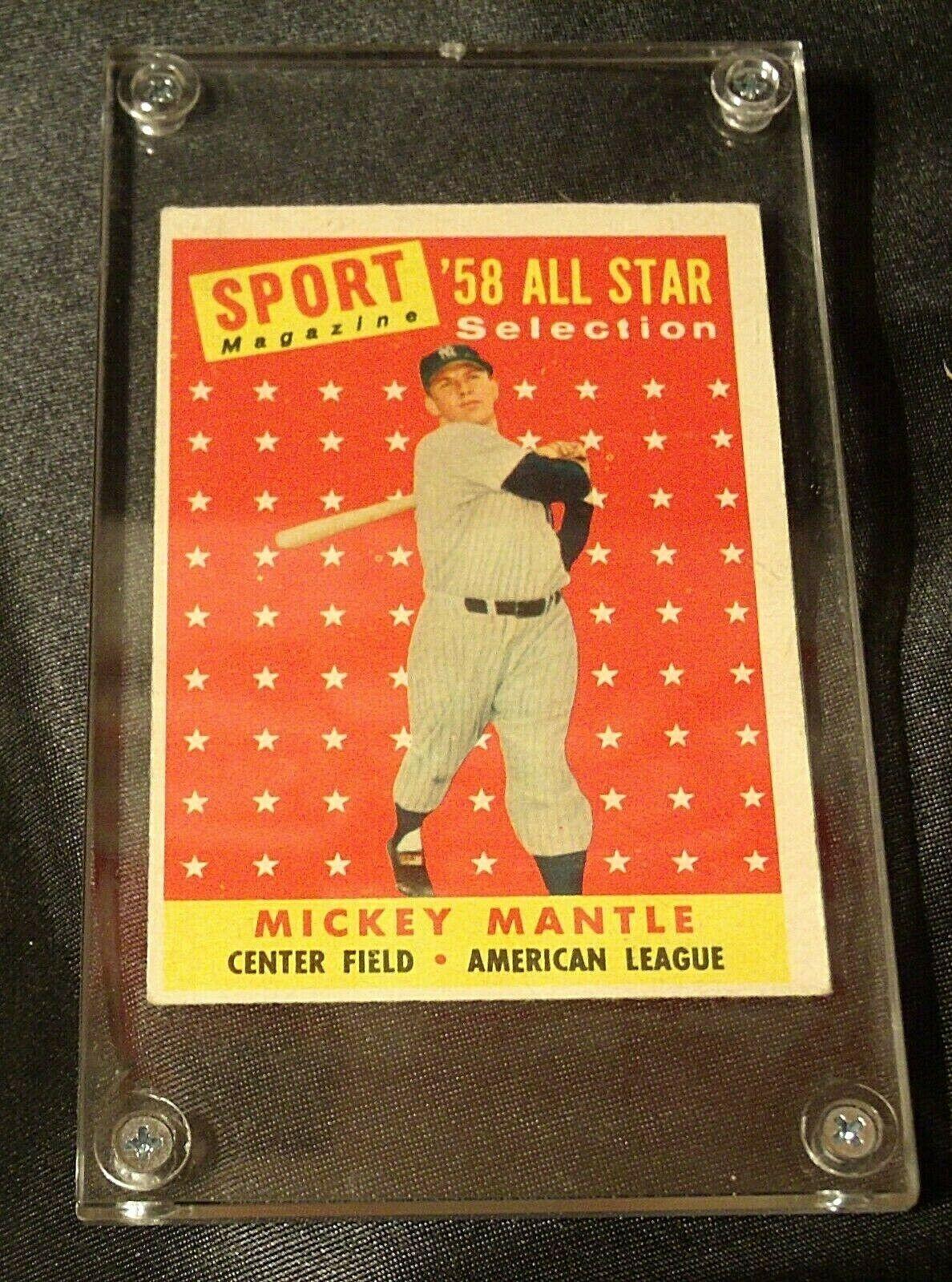 1958 Mickey Mantle Baseball Trading Card # 487 AA 19-BTC4003 Vintage Collectible
