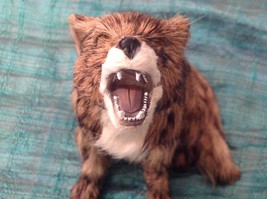Brown and white sitting howling coyote Animal Figurine - recycled rabbit fur image 2