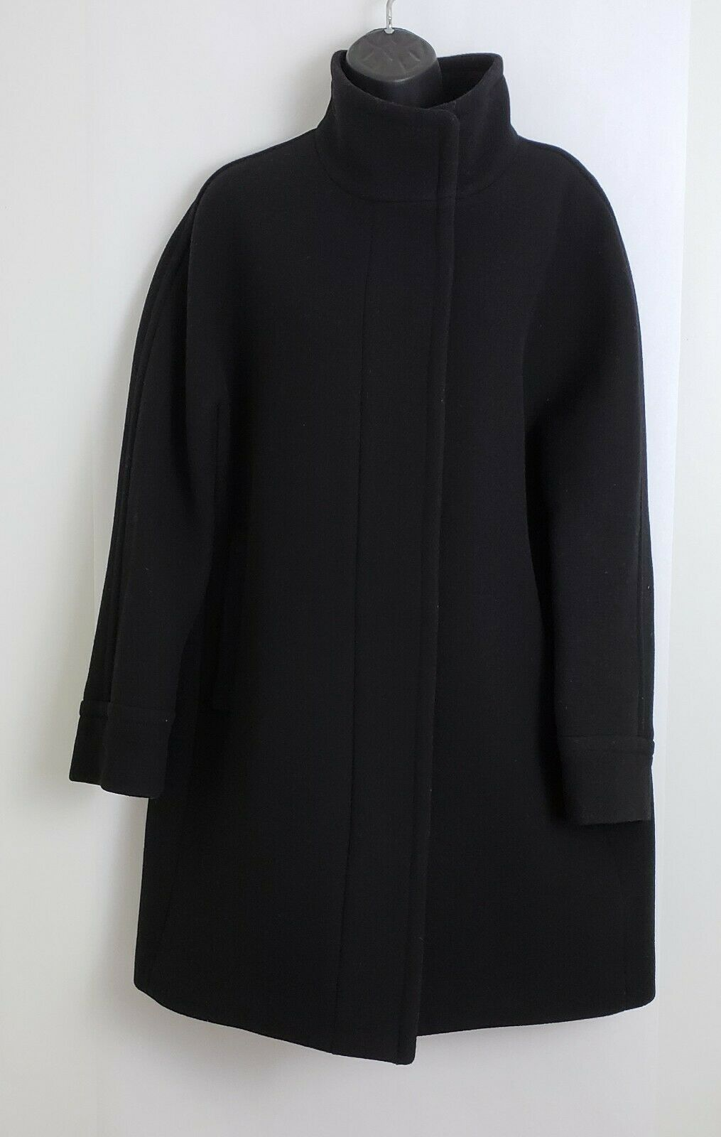 Primary image for J Crew Womens Coat Stadium Cloth by Nello Gori Black Zipper Wool Blend Size 14