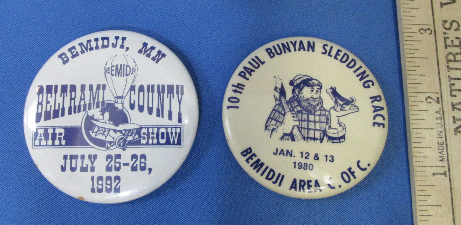 Lot of 10 Bemidji MN Memorabilia Paul Bunyan Button Pins Wood Beavers Lumberjack image 4