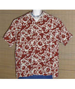 Ocean Pacific Hawaiian Shirt Red Beige Flowers XL - $24.99