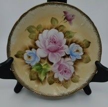 Vintage Foil MarkinHand Painted Pink /Blue Roses Plate Signed 8.25 Wall Enesco - $19.99