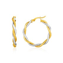 Womens Two-Tone Stylish Twisted Wire Round Hoop EARRINGS 10k Yellow & White Gold - $121.79