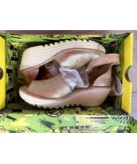 FLY London 40 9 9.5 pearl Perforated Leather Wedge Sandals Yake W Box Pr... - $99.00