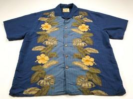 Joe Marlin L Men's Hawaiian Camp Shirt Blue Short Sleeve Floral Large - $29.99
