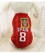 Dog Soccer Jersey – Spain World Cup Clothes Vest Shirt – For Small Mediu... - $5.89