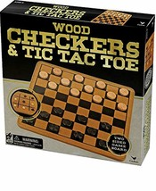 Wood Checkers Tic Tac Toe Family Wooden Board Game Set Checkerboard Checker - $19.43