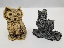 Vintage Owls Set of 2 Resin Black/White Pair Brown Shelf Desktop - $9.74
