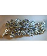 """Vintage 1950s Rhinestone 2 3/4"""" PIN Silvertone Leaf Spray Swag - $15.00"""