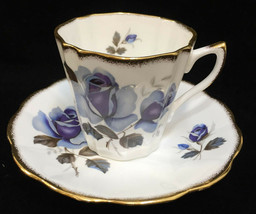 Tea Cup & Saucer Rosina Fine Bone China Porcelain Blue Rose Flower Floral  - $14.84