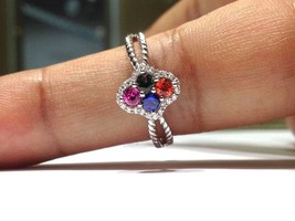 1.00 Carat Rainbow Sapphire Ring set in 925 Sterling Silver WATCH VIDEO