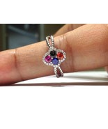 1.00 Carat Rainbow Sapphire Ring set in 925 Sterling Silver WATCH VIDEO - $149.00