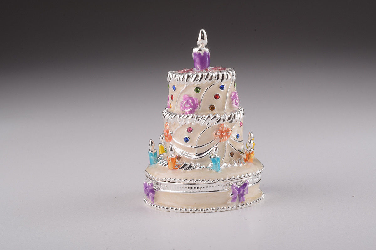 Primary image for Birthday cake  trinket box hand made by Keren Kopal & Austrian crystals Faberge