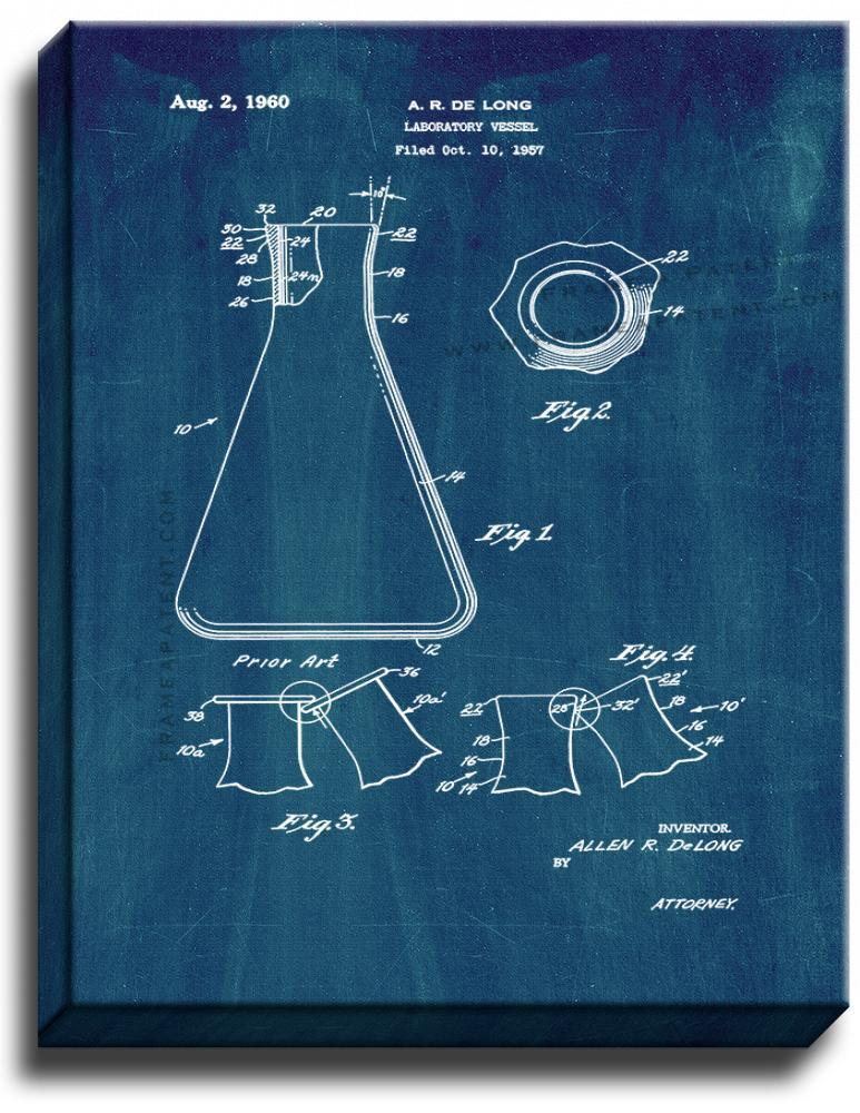 Primary image for Laboratory Vessel Patent Print Midnight Blue on Canvas