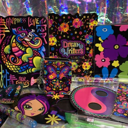 10pc ROULETTE LOT Lisa Frank Dream Writers Stickers Keychain Gel Pens Stationery