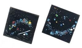 VINTAGE SQUARE COPPER SCREW BACK EARRINGS BLACK ENAMEL W Paint Speckles ... - $22.00